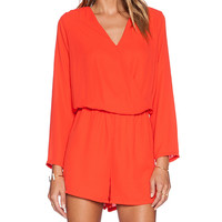 Three Eighty Two Carter Long Sleeve Romper in Red