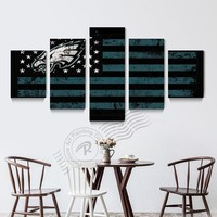5 Panel Philadelphia Eagles New Eagle Sports Team Wall Painting Home Decor Wall Picture For Living Room Prints Unframd BR0170