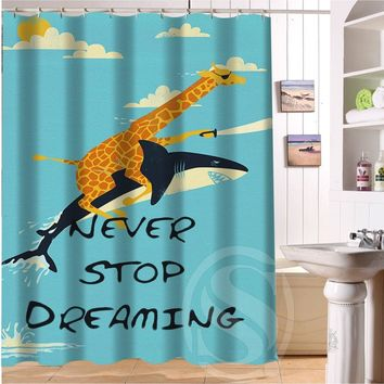 Best gift Giraffe Riding Shark Never Stop Dreaming Shower Curtain 60-inch by 72-inch Free Shipping Custom More size