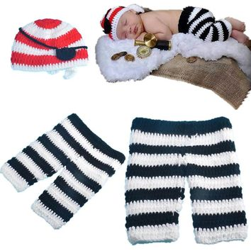 Cartoon Cute Newborn Knitted 3-4 Months Hat Eye Patch and Pants Photography Props Crochet Clothing Set