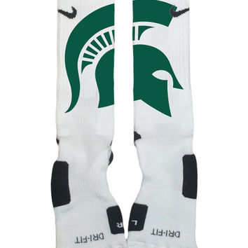 Custom Nike Elite Socks-Michigan State Spartan