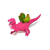 Up-cycled Dragonfruit Pink Velociraptor Dinosaur Planter