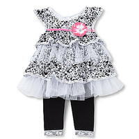 Starting Out 12-24 Months Printed Lace Top & Leggings Set - Black