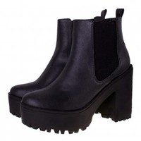 BEBO Platform Boots | Black Chunky Cleated Boots | Shoebou Boots