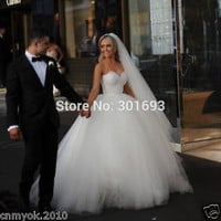 Sweetheart Neckline Strapless Wedding Dress Ball Gown USA SIZE2 4 6 8 10 12 14 +
