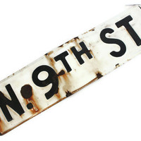 Rustic Vintage Street Sign Black and White Industrial Decor