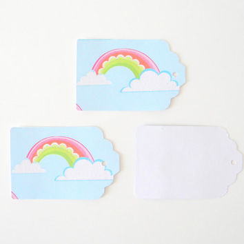 "20 pc Rainbow Paper Tags, Wedding Favor Tags, Hand Punched Tags, Gift Tags, Birthday Party Favor Tags, 2 11/16"" x  1 3/4"""
