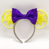 Tangled Sun 3D Printed Disney Ears with choice of sequin bow