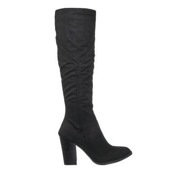 Showcase14 Block Heel Western Boots - Women Slouchy Knee High Shoe