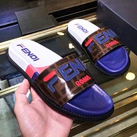 Fendi high quality new fashion letter print shoes slippers women Blue
