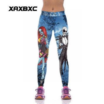 XAXBXC W1001 Sexy Girl GYM Sport Yoga Pants The Nightmare Before Christmas Skull Prints High Waist Jogger Fitness Women Leggings