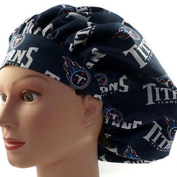 Women's Bouffant, Pixie, or Ponytail Surgical Scrub Hat Cap in Tennessee Titans