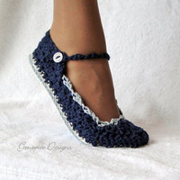 Slippers Crochet Pattern Skinny Flats 4 sizes Emailed by Genevive