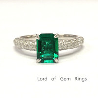 Emerald Shape Emerald Engagement Ring Pave Diamond Wedding 14k White Gold 6x8mm Claw Prong