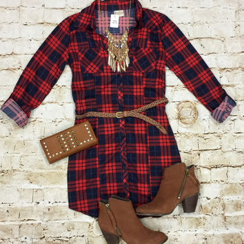 You Plaid me at Hello Belted Tunic: Red/Blue