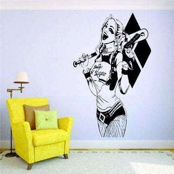 Suicide Squad Wall Decal Harley Quinn Vinyl Adhesive Art Mural Kids Room Wall Sticker Modern Home Decoration Accessories