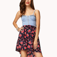 Floral Chambray Combo Dress | FOREVER 21 - 2059863842
