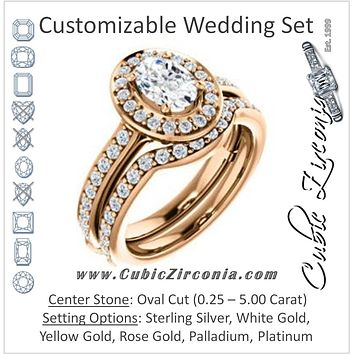 CZ Wedding Set, featuring The Sally engagement ring (Customizable Halo-Oval Cut Design with Round Side Knuckle and Pavé Band Accents)