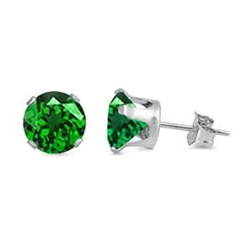 Round Cut Emerald Green Stud Earrings