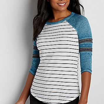 burnwash football tee with stripes   maurices