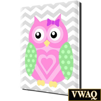 Nursery Owl Print Stretched Canvas Room Decor Grey Chevron Wall Art VWAQ-O20