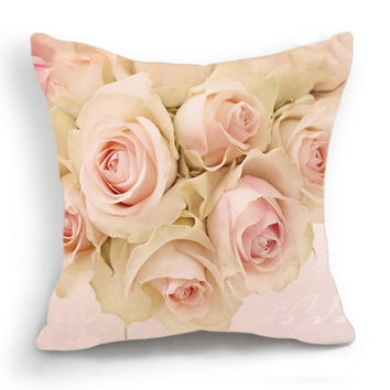 Retro Design 18'' Cushion Cover Pillow Case Blossom Pink Rose Flower Home Decor