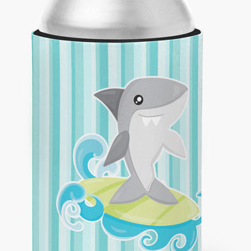 Surfin Shark on Stripes Can or Bottle Hugger BB6942CC