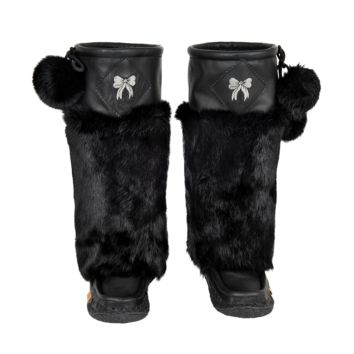 Midnight Black Leather Mukluks with Silver Embroidery