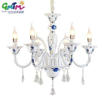2017 New Wedding decoration ceiling white glass chandeliers blue rose white crystal chandelier rustic chandelier
