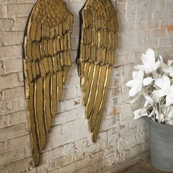 Painted Wooden Angel Wings   Set of Two