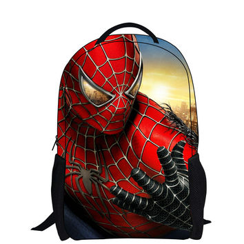 Cartoon backpack with zipper fashion style boy cool spiderman bag child schoolbag for kid printing backpack