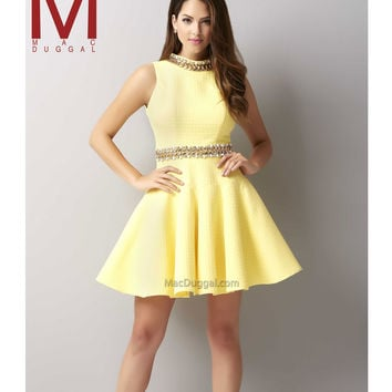 Mac Duggal 30106 Lemon Textured Sleeveless Beaded Short Dress  2015 Homecoming Dresses