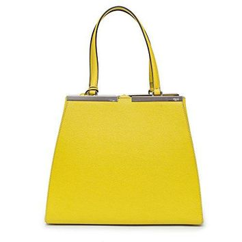 Fendi 2Jours Tote Leather Chartreuse Yellow Bag New Top Handle Silver