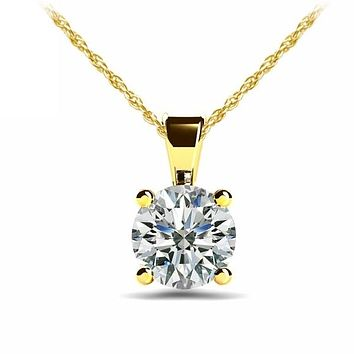A Perfect 14K Yellow Gold 5CT Round Cut Russian Lab Diamond Solitaire Pendant Necklace