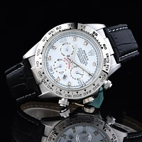 Rolex Popular Women Men Business Sport Movement Lovers Watch Black Silver Shell I-SBHY-WSL