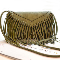Green Thin Long Tassel Shoulder Bag