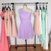Short Lilac Bridesmaid Dress, Cheap Light Purple One Shoulder Chiffon Bridesmaid Dresses