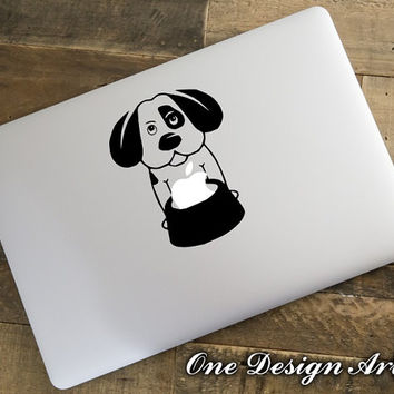 Cute dog puppy eating apple Macbook Pro Air Laptop decal home window decal vinyl sticker wall mural arts ipad apple monkey humor Y136