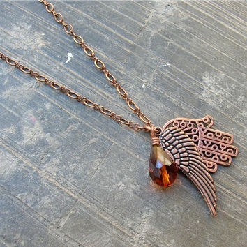 protection- Hamsa feather and topaz crystal necklace