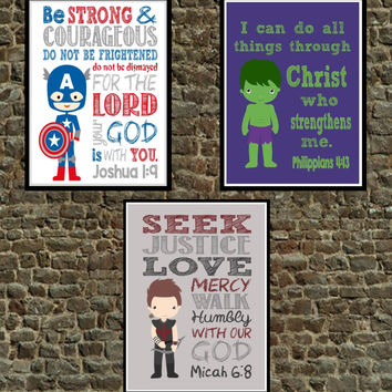 Set of 3 - Superhero Bible Verse Wall Art - Captain America, The Hulk, Hawkeye - Scripture Nursery Decor