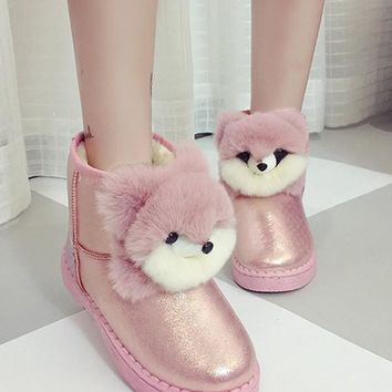 New Pink Round Toe Flat Casual Boots