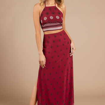 Takes Time Print Maxi Skirt
