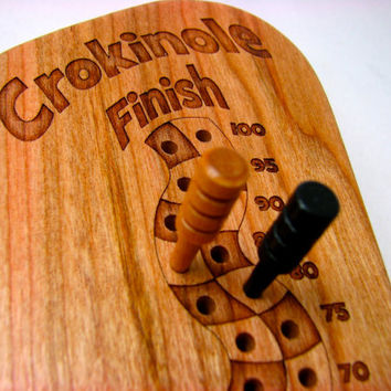 Crokinole Counter with wooden biscuits and wooden scoring pegs, Solid Cherry -Laser Engraved