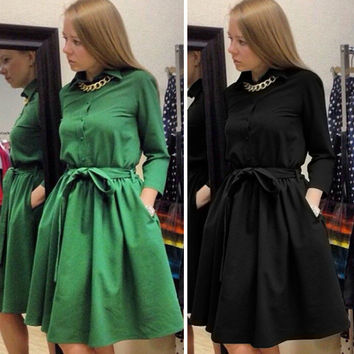 Women's Casual Long Sleeve Lapel Elegant Dress