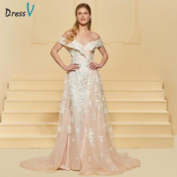 Dressv Long Wedding Dress Off The Shoulder Sleeveless Tulle Mermaid Appliques Zipper Up Church Elegant Custom Wedding Dress