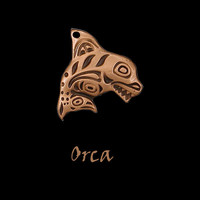 Copper Orca Pendant with an Adjustable Black Cord