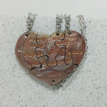 Heart Necklaces set of 4 Always Together Never Apart Metallic Mix Polymer Clay