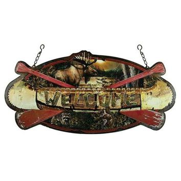 Hanging Sign - Welcome Canoe