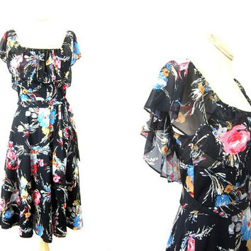 1950s Floral Dress Flutter Dress Flower Print Midi Dress Prom Party Flowing Day Dress Vintage Womens Size Small