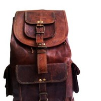 "21"" Genuine Leather Retro Rucksack Backpack College Bag,school Picnic Bag Travel:Amazon:Clothing"